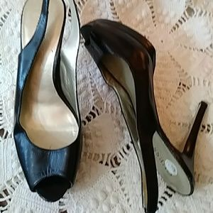 Guess black slingback heels w open toe-sz 8 1/2M